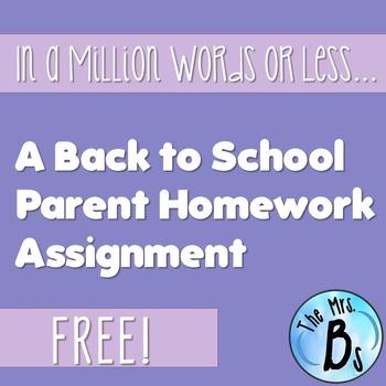 Describe Your Scholar - A Back to School Parent Homework Assignment