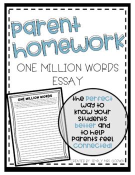 Back to School Parent Homework - One Million Words Essay