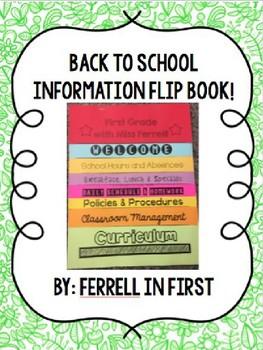Back to School Parent Info Flip Book (Completely Editable)