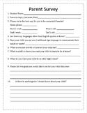Back to School Parent Info Survey