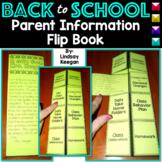 Back to School Parent Information Flip Book - EDITABLE