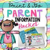 Back to School Editable Parent Information Meet the Teacher Flip Book