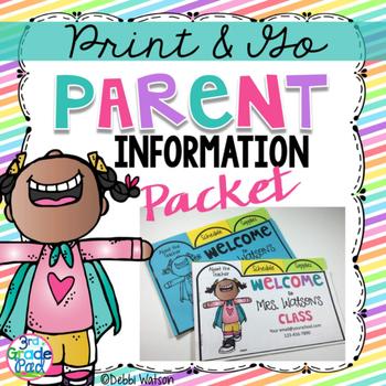 Back to School Parent Information Flip Book
