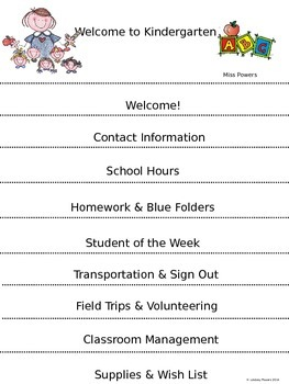 Back to School Parent Information Flip Book EDITABLE
