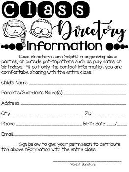 Back to School Parent Information Forms