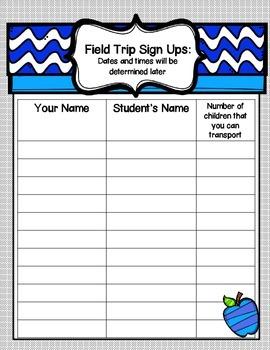 Back to School Parent Information Forms ~ Portrait