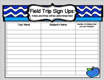 Back to School Parent Information Forms~Landscape