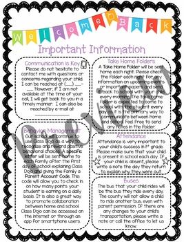 Back to School Parent Information Handout - Editable