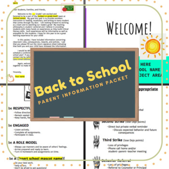 Back to School Parent Information Packet