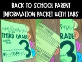 Back to School Parent Information Packet EDITABLE