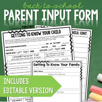Back to School Parent Input Form for Growth Mindset Insights