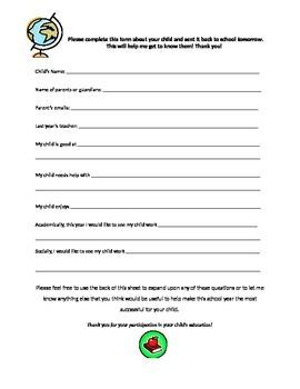 Back to School Parent Input Questionnaire