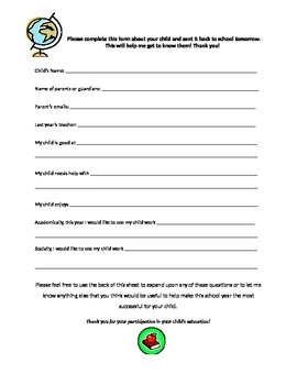 Back to School Parent Input Questionnaire