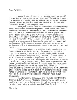 Back to School Parent Letter for Special Ed. Resource Room Teachers