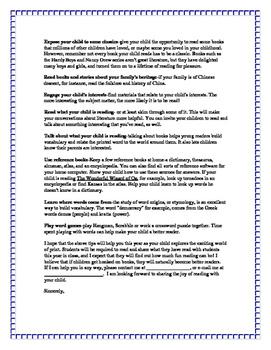 parent letter from teachers
