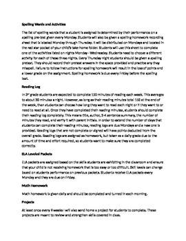 Back to School Parent Letter/Classroom Procedures
