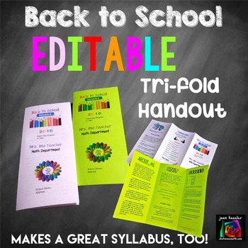 Editable Open House Parent Night Back To School Tri Fold