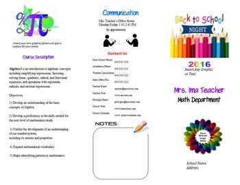 Back to School Night Brochure  Meet the Teacher   Open House