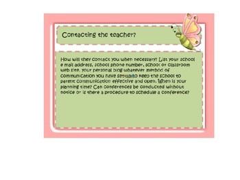 Back to School Parent Night Power Point Butterfly & Insects Template Open House