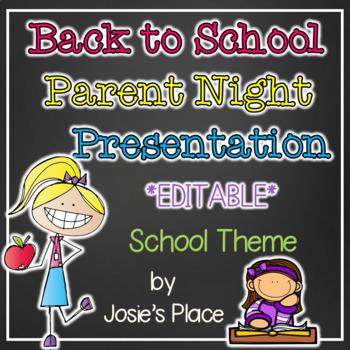 Back to School Parent Night Presentation EDITABLE