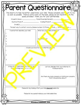 Back to School Questionnaire