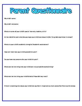 Back to School Parent Questionnaire