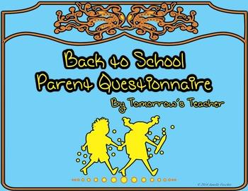 Back to School - Parent Questionnaire - Editable