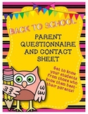 Back to School Parent Questionnaire and Contact Sheet