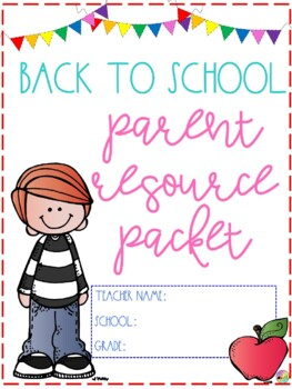 Back to School Open House Parent Resource Packet- Editable