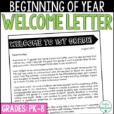 Back to School Parent Student Teacher Welcome Letter