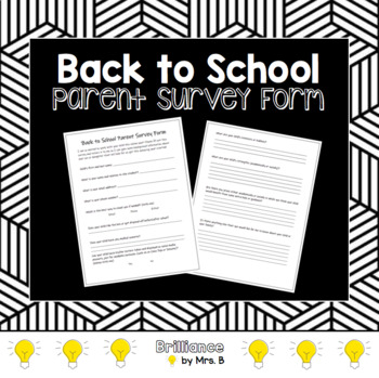 Back to School Parent Survey Form