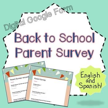 Back to School Parent Survey GOOGLE FORMS