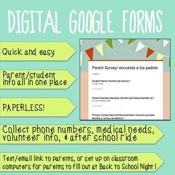 Back to School Parent Survey GOOGLE FORMS