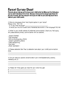 Back to School Parent Survey, Special Education