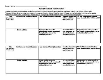 Back to School Parent Teacher Communication Forms