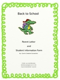 Back to School Parent Welcome Letter and Student Information Form