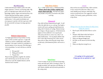 Back to School - Parent Welcome Pamphlet