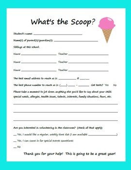 Back to School Parent/Student Information Form