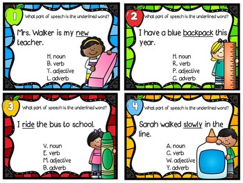 Back to School Parts of Speech Task Cards (with QR Code option)