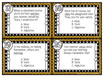 Back to School - Parts of Speech Task / Scoot Cards & Game board