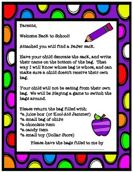 Back to School Party in a Bag Freebie