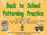 Back to School Pattern Independent Practice for Kindergarten-1st Grade