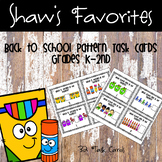 Back to School Pattern Task Cards {K-2nd Grade}
