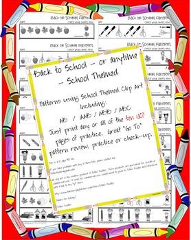 FestiveFriday Back to School * Patterns * No Prep Printable
