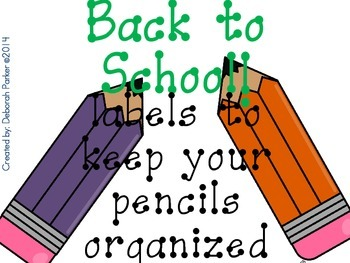 Back to School: Pencil Labels to Keep You Organized