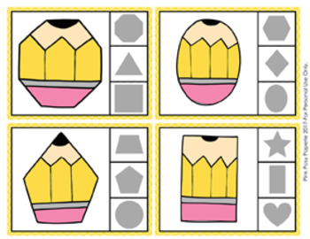 Back to School Pencil Shapes Clip Cards