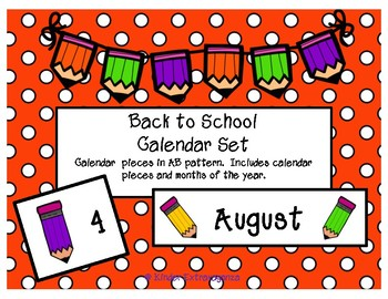 Back to School Pencil Themed Calendar Set