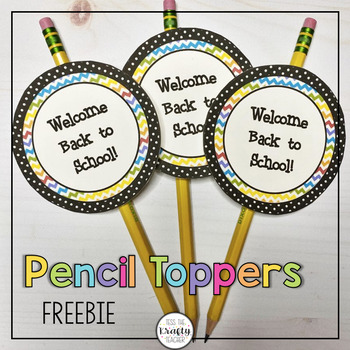 Bright Chevron Back to School Pencil Toppers