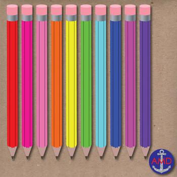 Back to School Pencils- Clip Art School Supplies- Neon & A