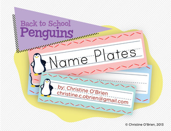 Back to School Penguins - Name Plates